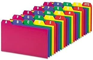 Oxford Products - Oxford - Card Guides, Alpha, 1/5 Tab, Polypropylene, 3 x 5, 25/Set - Sold As 1 Set - Durable guides stand up to active use. - Tabs are color-coded and preprinted with A thru Z. - Tear-, wear-, and moisture-resistant poly construction.