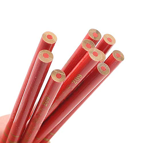Red Carpenter Pencils – 20 Pcs Carpenters Pencils Lead For DIY Builders Joiners Woodworking Thick Core Round Red Refill 17.5Cm