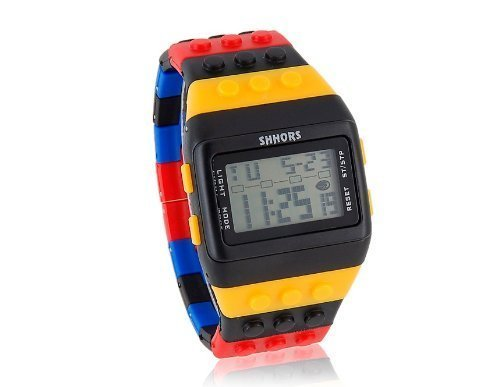 (Chic SHHORS W-8201 Rectangle Dial Green Light LED Watch with Multi-Function Display - Colorful)