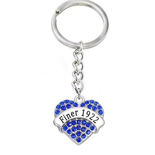 (Key Chains - New Design University Fraternity Sorority Sigma Gamma RHO Society Symbolic Key Ring Finer 1922 Heart Crystal Pendant Key Chain - by Mct12-1 PCs)