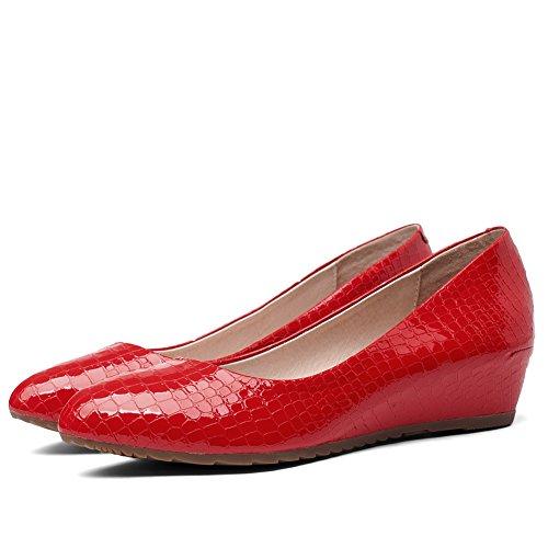 Amoonyfashion Donna A Punta Chiusa Tacco Basso Scarpe Con Cinturino-scarpe Rosse