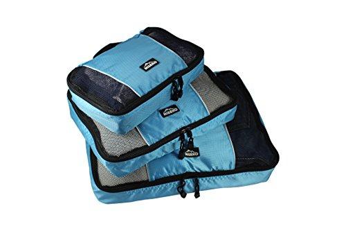 Niseko Packtaschen 3-teiliges Kofferorganizer-Set, Kleidertaschen | Reisetaschen für Aufbewahrung im Koffer und Rucksack, blau