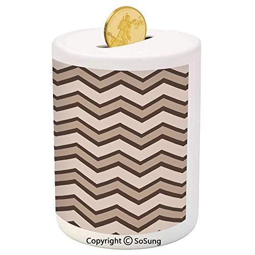 SoSung Tan Ceramic Piggy Bank,Classic and Fashionable Chevron Zigzag Pattern Waves Geometric Retro Style Tiling 3D Printed Ceramic Coin Bank Money Box for Kids & Adults,Brown and Tan - Magnetic Tiling Toy