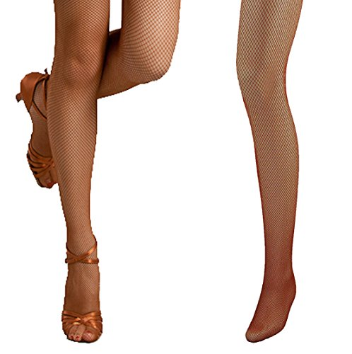 Bartolini Women Professional Dance Fine Fishnet Tight Stockings (Medium, - Nude Brown