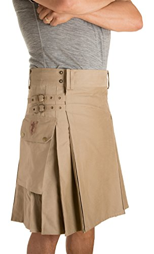 Damn Near Kilt 'Em Men's Greenhorn Utility Kilt Medium Khaki
