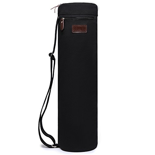 Yoga Mat Bag, Boence Full Zip Exercise Yoga Mat Sling Bag with Sturdy Canvas, Smooth Zippers, Adjustable Strap, Large Functional Storage Pockets - Fits Most Size Mats (Black)