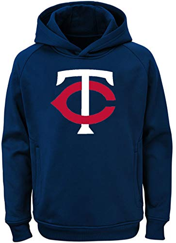 Outerstuff MLB Youth 8-20 Team Color Polyester Performance Primary Logo Pullover Sweatshirt Hoodie (Medium 10/12, Minnesota Twins)