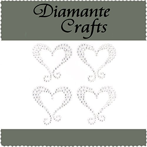 - 4 Clear Hearts with Swirls Diamante Vajazzle Rhinestone Body Gems - created exclusively for Diamante Crafts by Diamante Crafts
