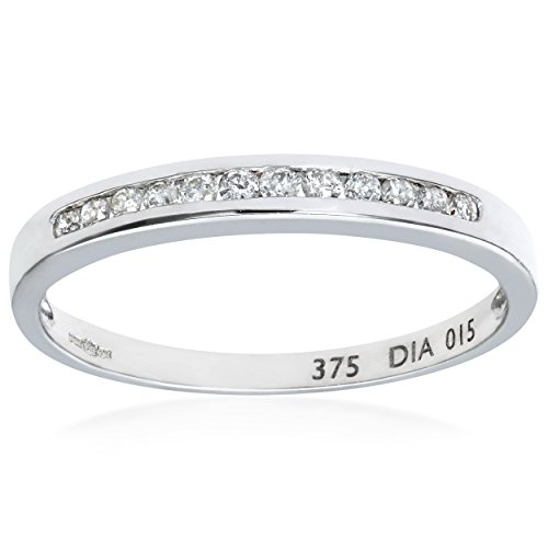 Naava Women's 9 ct White Gold 0.15 ct Channel Set Diamond Eternity Ring,...