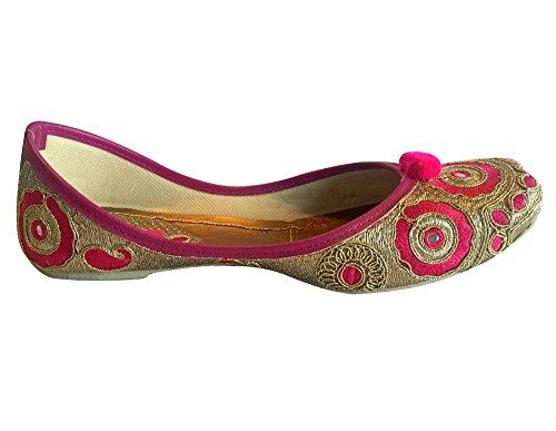 Piatto Stile Indiano Scarpe Khussa Step N Punjabi Mojari Jutti Tuta Pink C4wOPqX