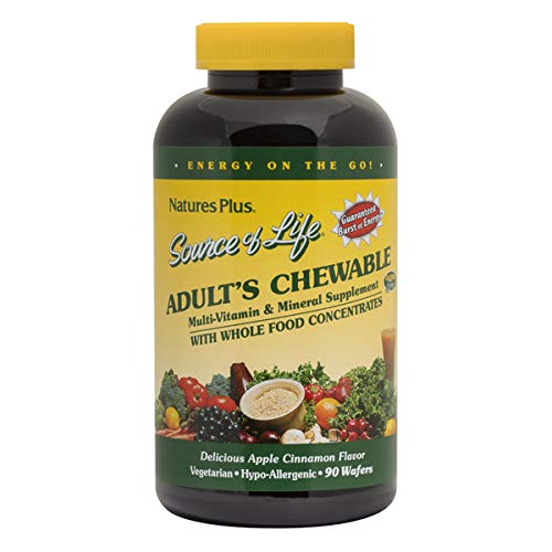 Natures Plus Source of Life Adult Chewable - 90 Vegetarian Tablets - Apple Cinnamon Flavor - Natural Whole Foods Supplement for Overall Health, Energy - Gluten Free - 45 Servings