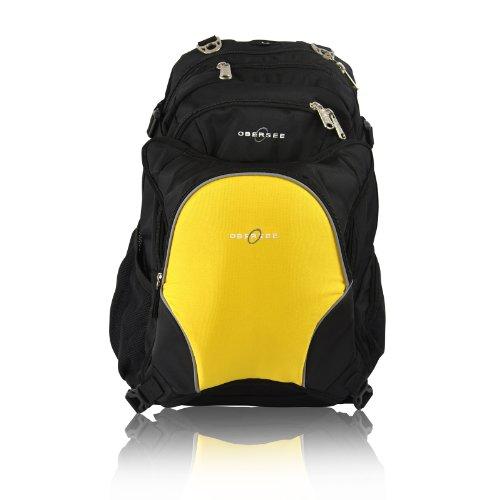Obersee Bern - Mochila para pañales con bolsa isotérmica separable (negro y amarillo)