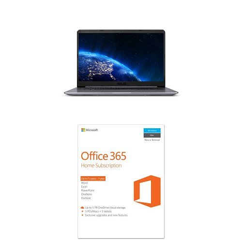 ASUS VivoBook F510UA FHD Laptop, Intel Core i5-8250U, Windows 10, Star Gray with Microsoft Office 365 Home 1-year subscription, 5 users, PC/Mac Key Card