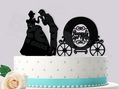 """Cinderella Happily Ever After Wedding Cake Topper 6/"""" W"""