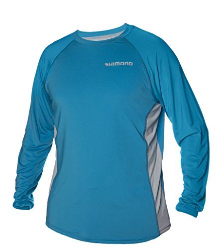 Shimano American Corporation Shimano CASTLSLCY Shm Castor Ls tech Tee L Cyan (Shimano Fishing Shirts For Men)