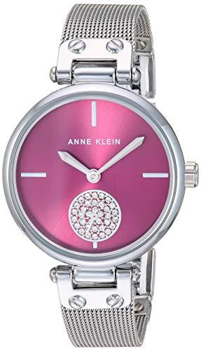 Anne Klein Women's AK/3001BYSV Swarovski Crystal Accented Silver-Tone Mesh Bracelet Watch