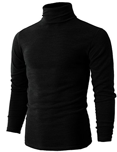 H2H Men's Turtleneck Shirt Long Sleeve Cotton Mock Neck Shirt Black US M/Asia XL (KMTTL028) (Cotton Turtleneck Shirt)