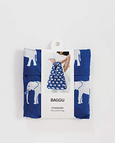 BAGGU Standard Reusable Shopping Bag, Eco-friendly Ripstop Nylon Foldable Grocery Tote, Elephant Blue (2018) by BAGGU (Image #1)