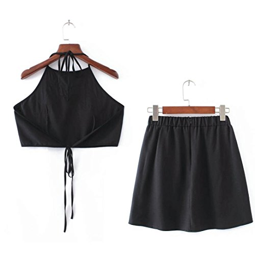 2017 Hot Sale! AMA(TM) Women Sexy 2 Piece Set Sexy Appliques Rose Sleeveless Strap Camisole Crop Tops Vest + Skirt Outfits (S, Black) by AMA(TM) (Image #5)