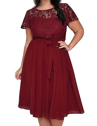 Size Floral Fit Coolred Lace Ruffle Wine Dress and Red Women Flare Large UtqtwfEng