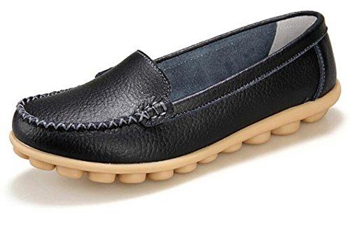 Bumud - Zapatos Planos De Cuero Para Caminar, Para Mujeres, Antideslizantes, Mocasines