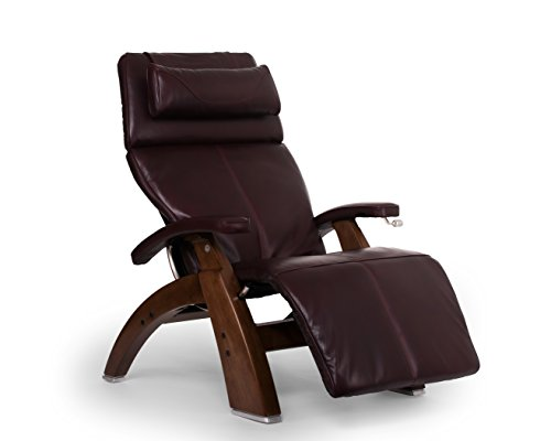 "Perfect Chair ""PC-420"" Premium Full Grain Leather Hand-Crafted Zero-Gravity Walnut Manual Recliner, Burgundy"