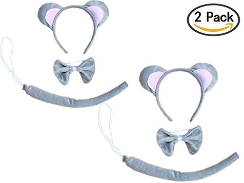 Kids Animals Dalmatian Mouse Wolf Tiger Antlers Party Costume Christmas Headband (2PCs Grey Mouse)