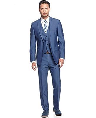 Calvin Klein eXtreme Slim Fit Blue Solid New Men's 3 Piece Suit Set (46R 39W)
