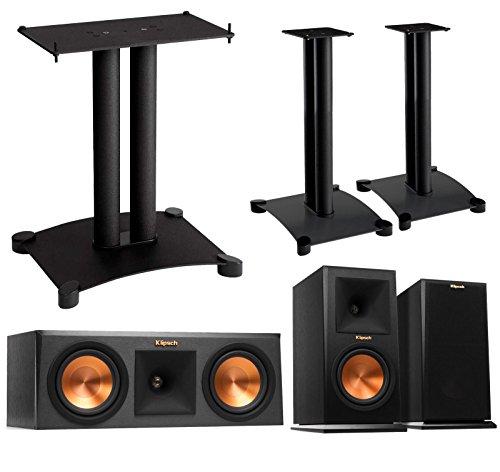 Klipsch Reference Premier 3.0 Speaker System With Stands (1 Pair RP160M Bookshelf Speakers, 1 Pair Sanus SF22B1 Bookshelf Stands, 1 RP250C Center Speaker, 1 Sanus SFC18B1 Center Stand) - Ebony