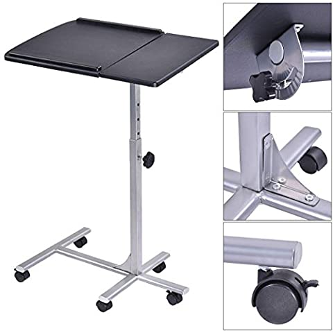 Adjustable Height Laptop Notebook Desk Stand Angle Rolling Over Sofa Bed Table