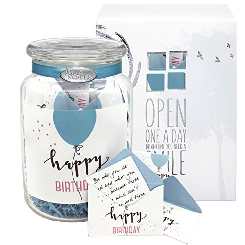 KindNotes Glass Keepsake Gift Jar of Inspirational Messages for Him or Her Birthday, Thank You, Anniversary, Just Because | Inspirational Messages - Birthday Balloon Simple Birthday -