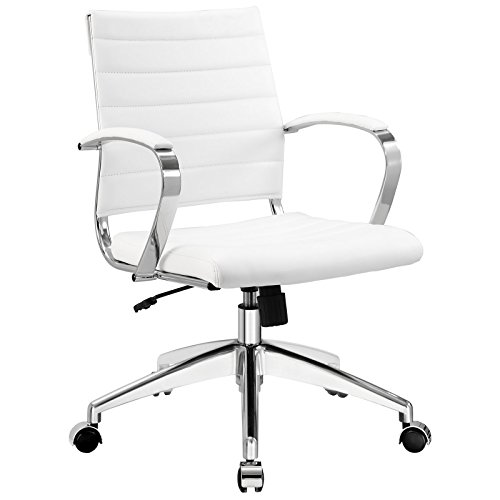 Cheap  Modway Jive Ribbed Mid Back Executive Office Chair With Arms In White