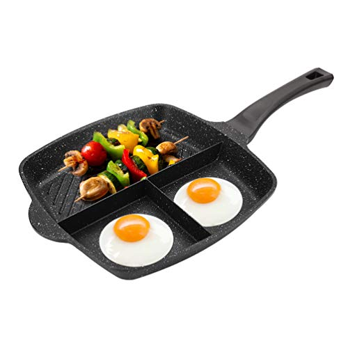3 Sections Divided Pan, Ejoyway, 11.4x11.4'' Non-stick 3-in-1 Breakfast Pan Grill/Fry/Oven Divided Meal Skillet Grill Pan Stone & Ceramic Frying Pan Induction Fry Pan Aluminum Cooker Pan