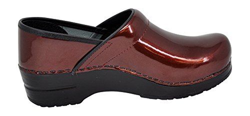 Sanita Womens Professioneel Patent Clog Bordeaux