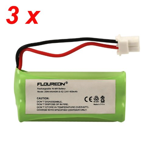 Floureon 3 Packs 2.4V 400mAh Cordless Home Phone Battery for AT&T BT162342 BT162342 BT166342 BT-166342 BT266342 -