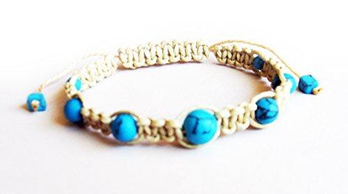 - Shamballa Friendship Bracelet Turquoise & Beige Cord Cute Gift