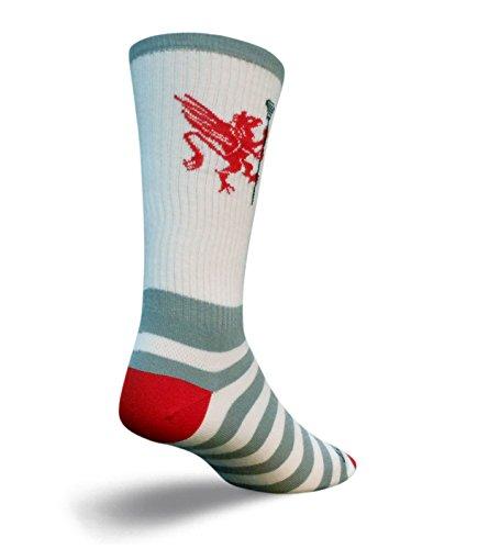 Sock Guy Lacrosse Griffin Crew Socks (White, L/XL)