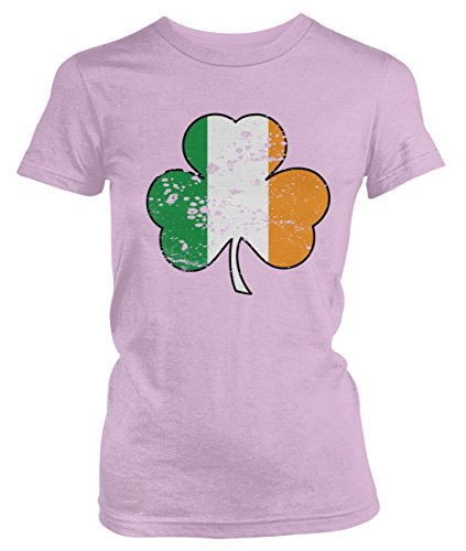 Amdesco Junior's Irish Flag Shamrock, Ireland Flag Clover T-Shirt, Light Pink Large