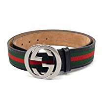 100% Authentic GG Silver Buckle Gucci Black leather belt Green/Red/Green