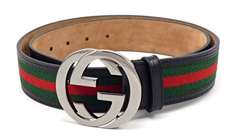 100-authentic-gg-silver-buckle-gucci-black-leather-belt-green-red-green-