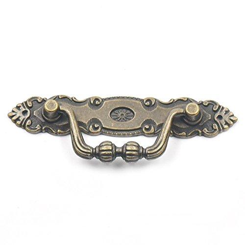"Blumoona 5 Pcs - Antique Brass Jewelry Box Drawer Cabinet Cupboard Door Wine Handle Pull Knob W Screws 106mm(4.17"")x35mm(1.38"") from Bluemoona"