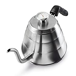 Apace Living POUR OVER COFFEE KETTLE with Tea Scoop and Table Coaster – Stainless Steel Gooseneck Drip Kettle w/ Built in Thermometer (1L / 34oz)