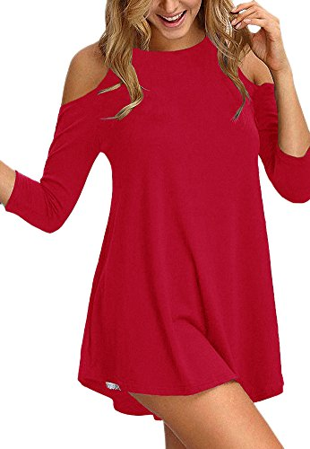 Sinono Women's Cold Shoulder Tops 3/4 Sleeve Shirt Casual Tunic Blouse Top 2