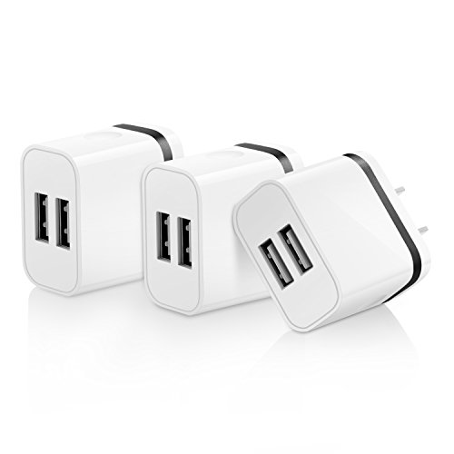 OKRAY 3 Pack 2A 10W Colorful Portable Dual USB Travel Wall Home Charger Power Adapter Plug for iPhone SE 6s Plus, iPad Air, Samsung Galaxy, Android, HTC, Google Nexus, Nokia (3 Pack Black)