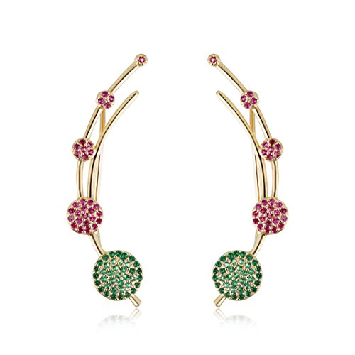 Mevecco Womens Girls Ear Crawler Climber Round Wafer CZ Crystal Ear Wrap Cuffs Earrings Sweep Stud Earring Pin Jewelry-Round-Color Crystal Multi Colored Stud