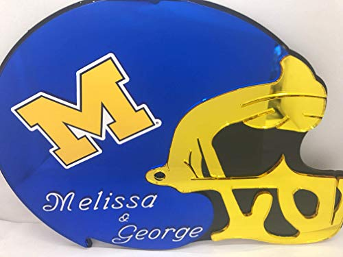 Michigan Wolverines NCAA Football Helmet Wall Decor Wall Hanging Personalized Free Engraved Mirror Sign NFL Sports Memorabilia - with Your Name On It!