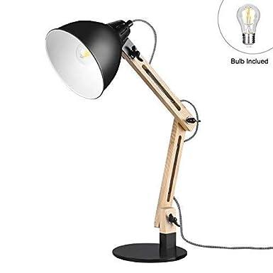 Viugreum LED Leselampe Schreibtischlampen mit schwenkbaren Holzarmen Tischlampe Studierlampe Arbeitslampe B/ürolampe Nachttischlampe mit verstellbarem Arm