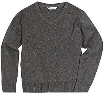 INDX-Clothing Kids Boys Girls Unisex School Uniform V Neck Jumper Sweatshirt Plain Pull Over