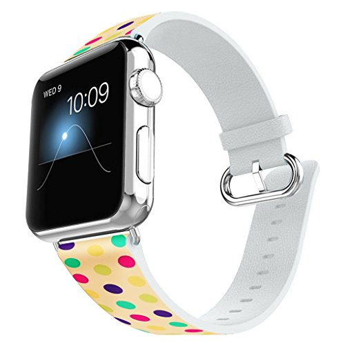 Gold Dot Clasp - Apple Watch Band 38MM 100% Leather + Stainless Steel Connector iWatch Bands for Apple Watch 38mm - Colorful polka dots