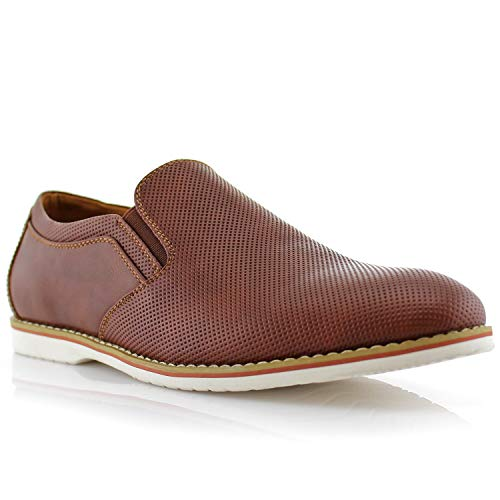 Ferro Aldo Elite MFA19613 Mens Casual Perforated Derby Slip on Loafer Shoes - Brown Size 9